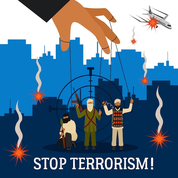 Stop terrorism illustration Free Vector