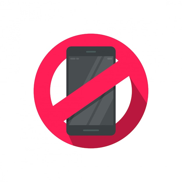 Stop using mobile phone or cellphone sign illustration Premium Vector