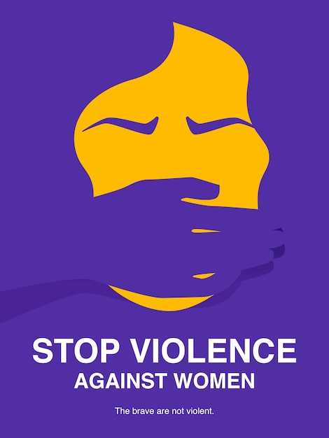 Stop violence against women concept poster. Premium Vector