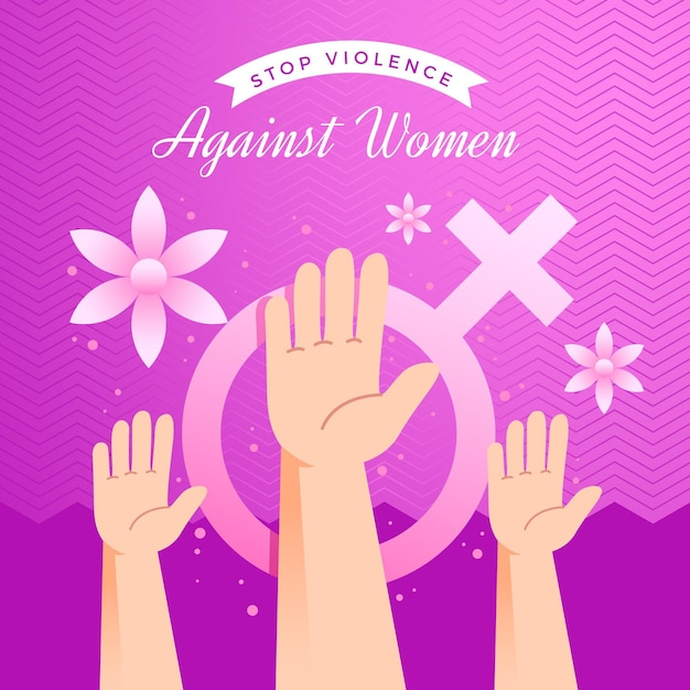 Stop violence against women hands in the air Free Vector
