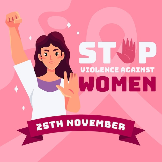 Stop violence against women theme Free Vector