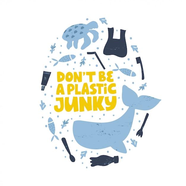 水の汚染の孤立した図を停止します。プラスチック製のジャンキーな言葉の概念にしないでください。 Premiumベクター