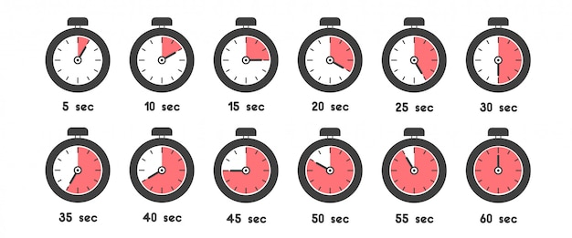 Stopwatch icon set with different time. sport clock with red colored time meaning Premium Vector