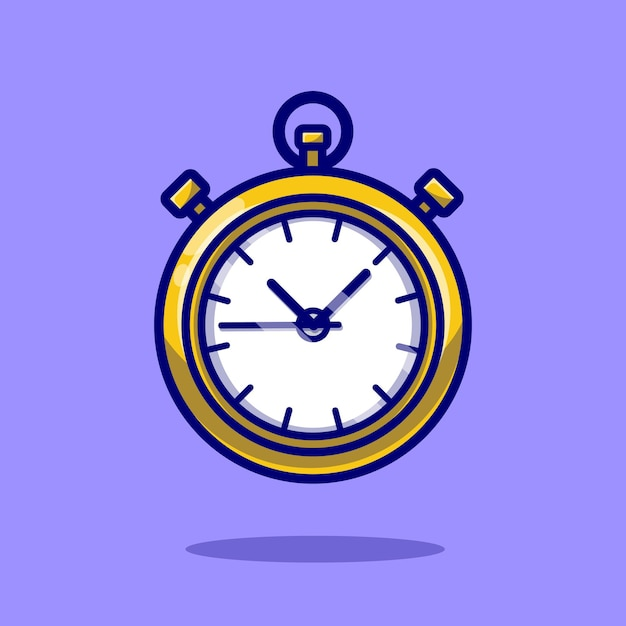 Stopwatch timer cartoon icon illustration. Free Vector