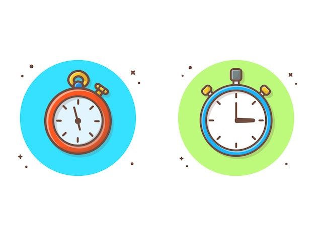 Stopwatch vector clipart illustration. clock, timer clipart concept white isolated Premium Vector