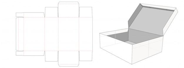 Storage box  with lid die cut template design Premium Vector