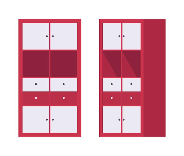 Storage cabinet office in red Premium Vector