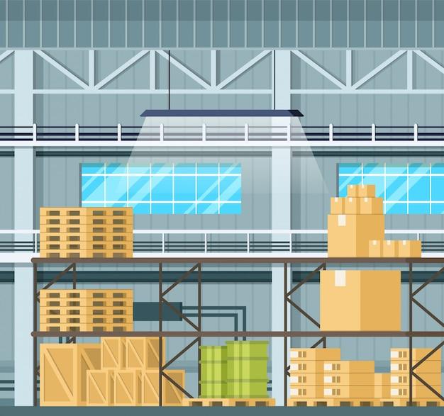 Storage interior with goods Premium Vector