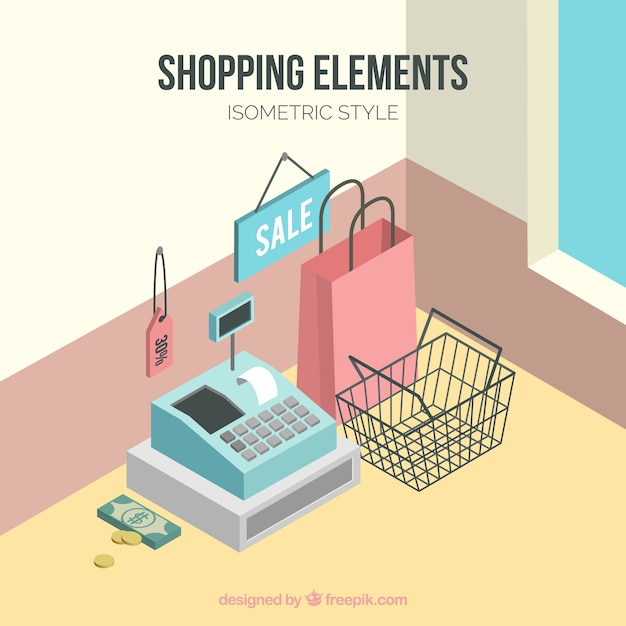 Store background with cash register in isometric style Free Vector