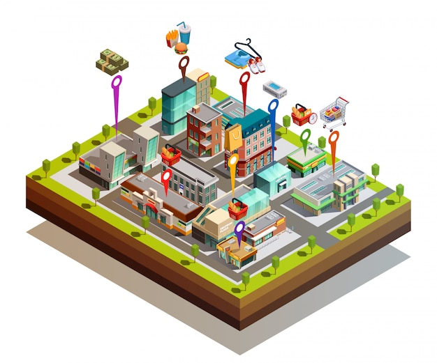 Store buiding island isometric concept Free Vector