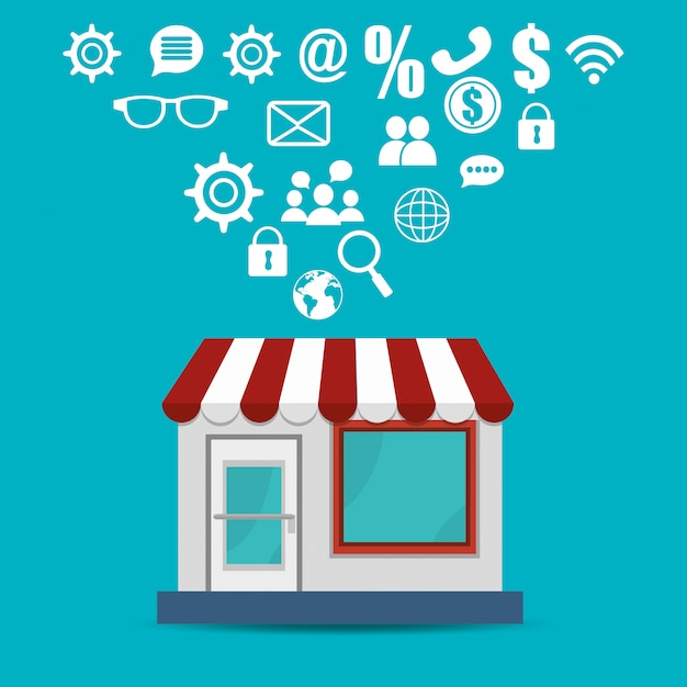 Store building with electronic commerce icons Free Vector