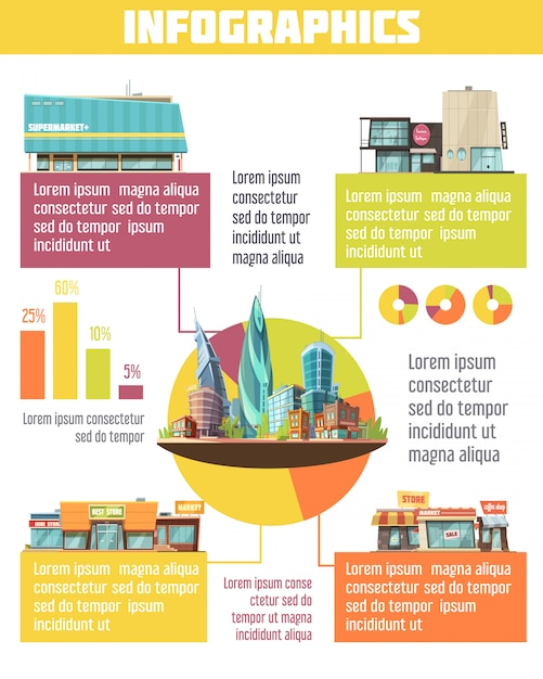 Store buildings infographic set with supermarket symbols cartoon vector illustration Free Vector