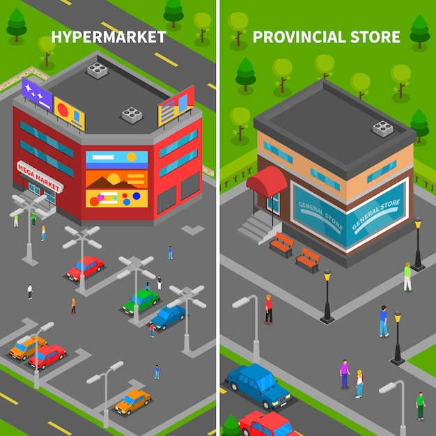 Store buildings isometric vertical banners Free Vector