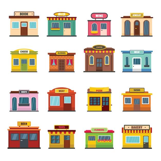 Store facade front shop icons set Premium Vector