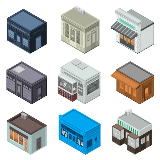 Store facade icon set. isometric set of store facade vector icons for web design isolated on white background Premium Vector