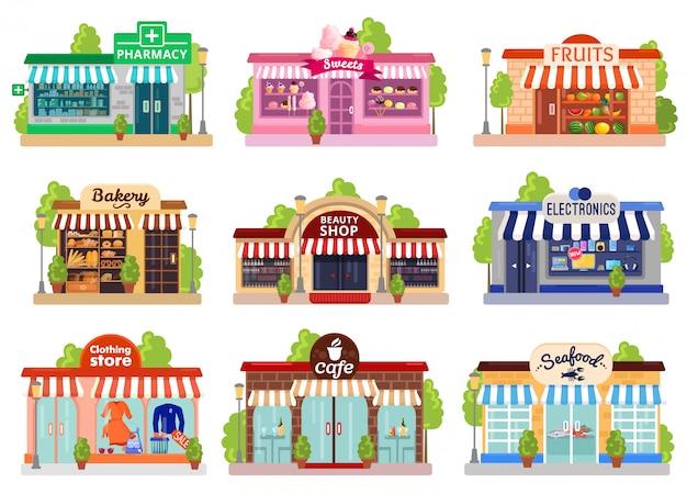Set di facciate di negozi Vettore gratuito