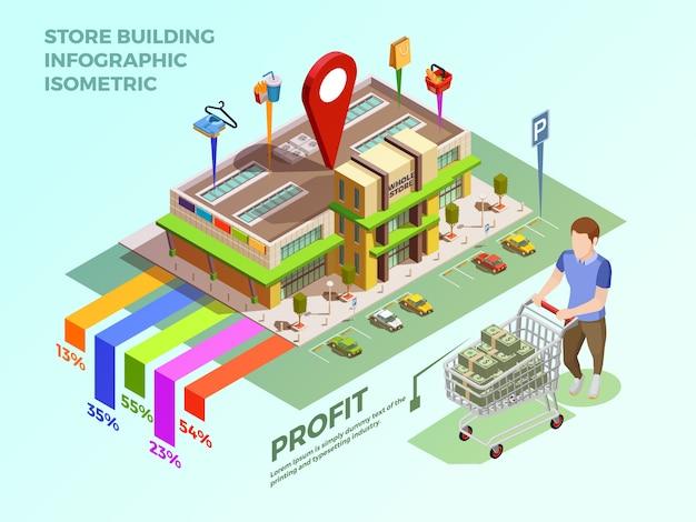 Store infograhic isometric concept Free Vector