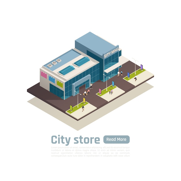 Store mall shopping center isometric composition banner with top view building and lawn vector illustration Free Vector