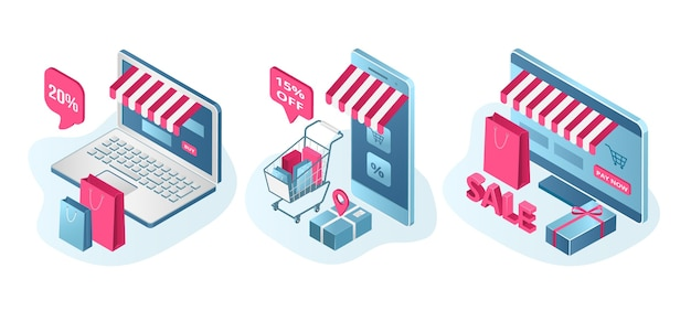 Store sale promotion set of isolated . prices off, discount offer. clearance start for online shop, e-commerce. laptops screen with shopping cart and internet store sale. Premium Vector