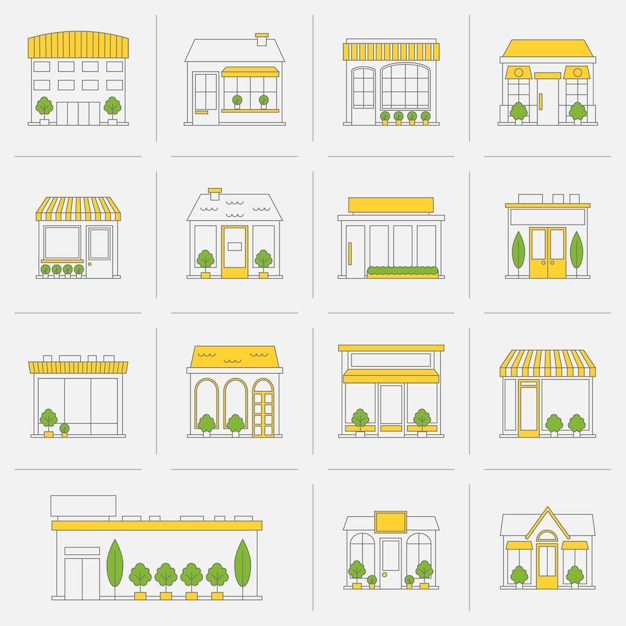 Store shop business buildings flat line icon set isolated vector illustration Free Vector