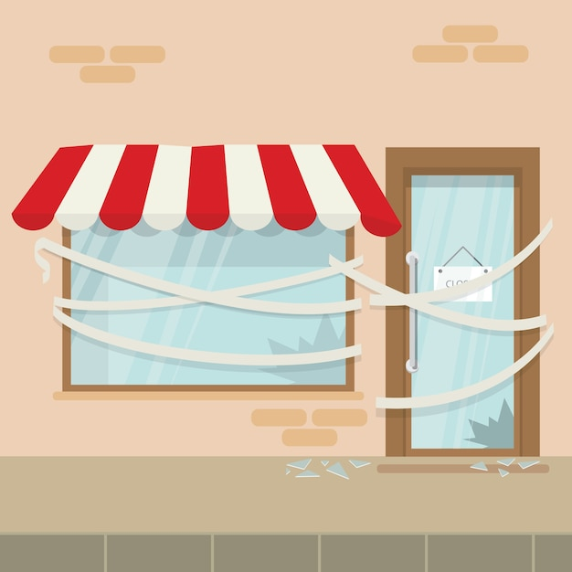 Store shop or cafe is bankrupt and closed Premium Vector