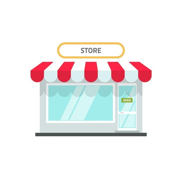 Store or shop facade  flat cartoon Premium Vector