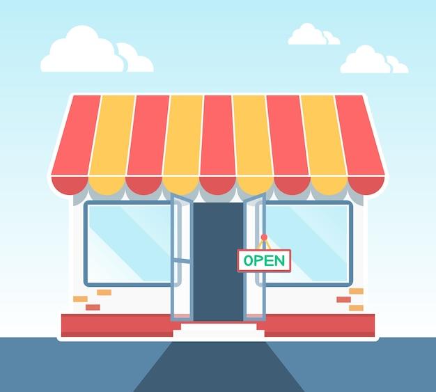 Магазин, магазин или рынок векторные иллюстрации Бесплатные векторы