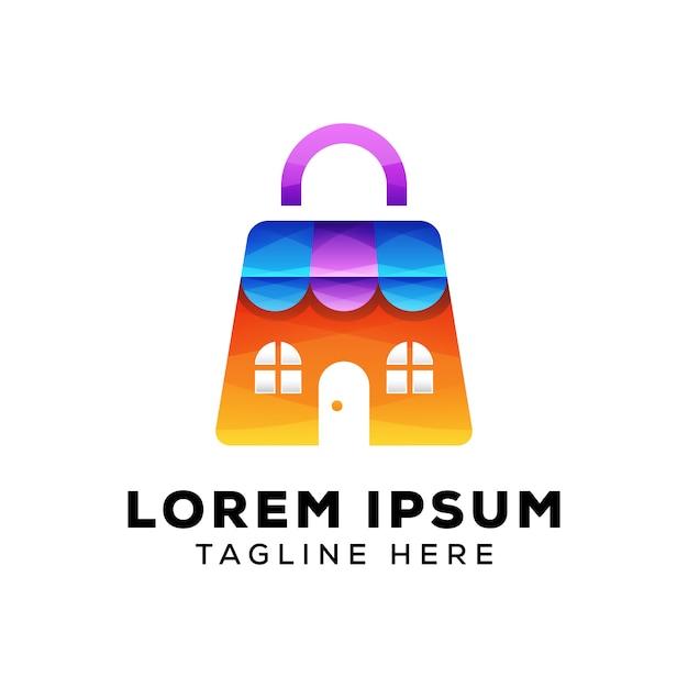 Store with bag logo Premium Vector