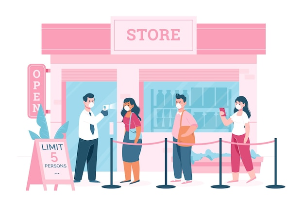 Store with limited number of persons Free Vector