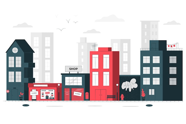Stores closed (empty city) concept illustration Free Vector