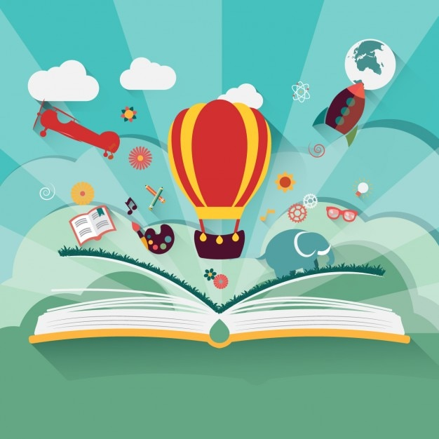 Stories in a book Free Vector