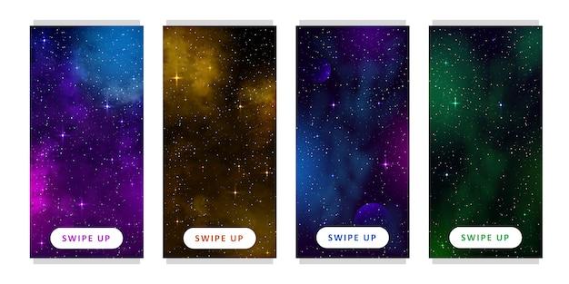 Шаблон истории. набор космический фон с мультфильм фантазия планет. мобильный Premium векторы