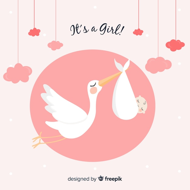 Stork baby shower cards collection Free Vector