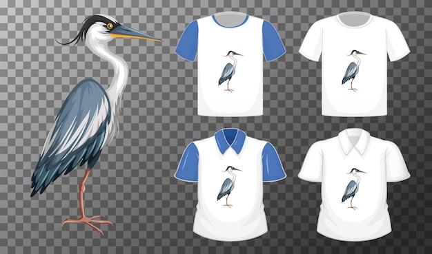 Uccello della cicogna nel personaggio dei cartoni animati di posizione di supporto con molti tipi di camicie su trasparente Vettore gratuito