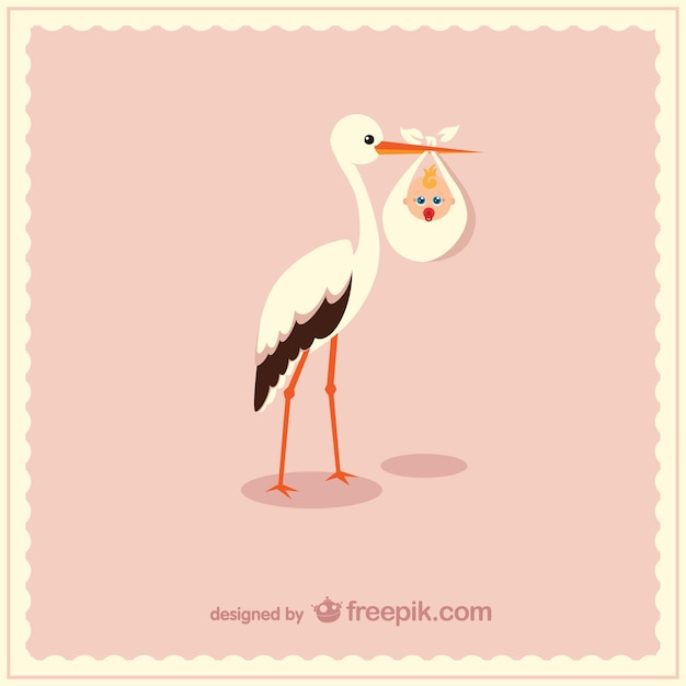 Stork Carrying Cute Baby Vector Free Download