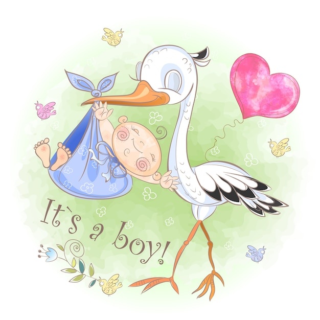Stork flies with baby boy Premium Vector