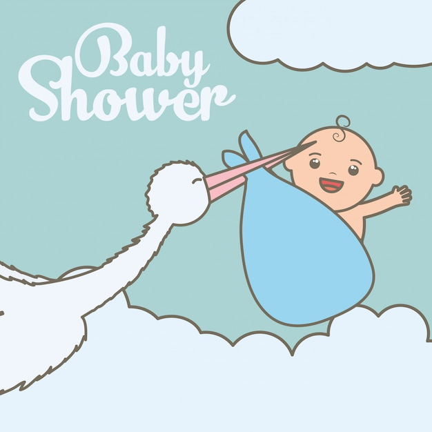 Stork flying with cute baby boy in bag Free Vector