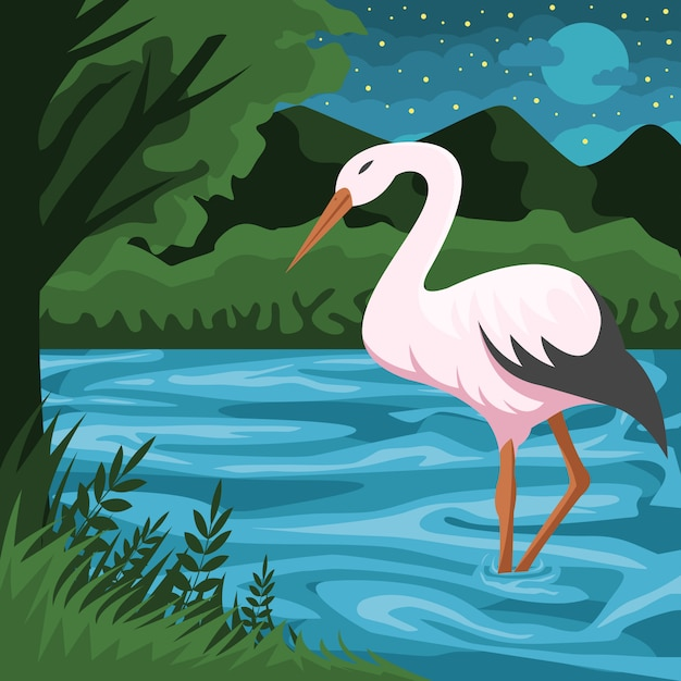 Stork and river vector illustration Premium Vector