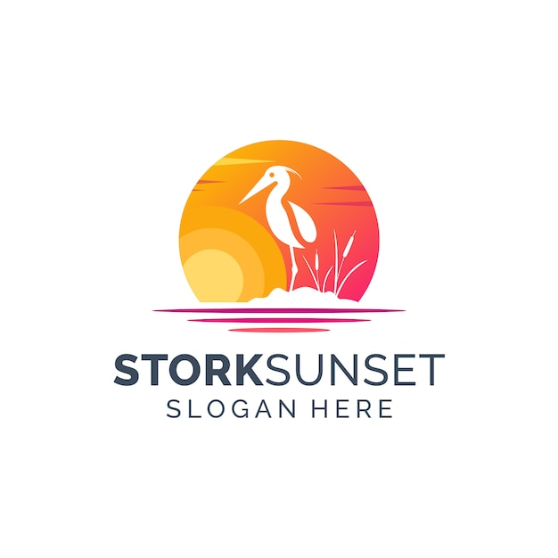 Stork sunset logo design Premium Vector