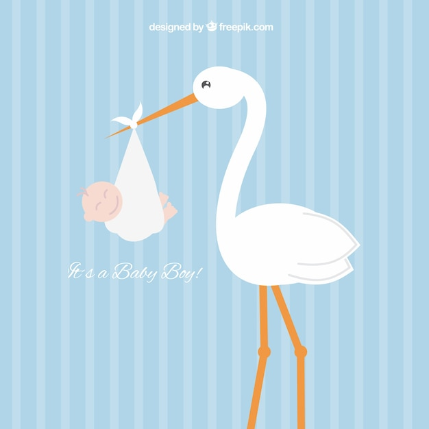 Stork with a baby boy Free Vector