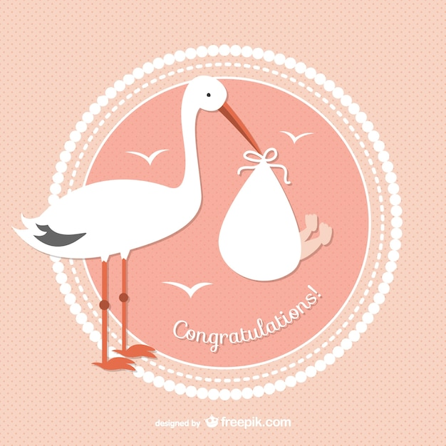 Stork with baby vector Free Vector