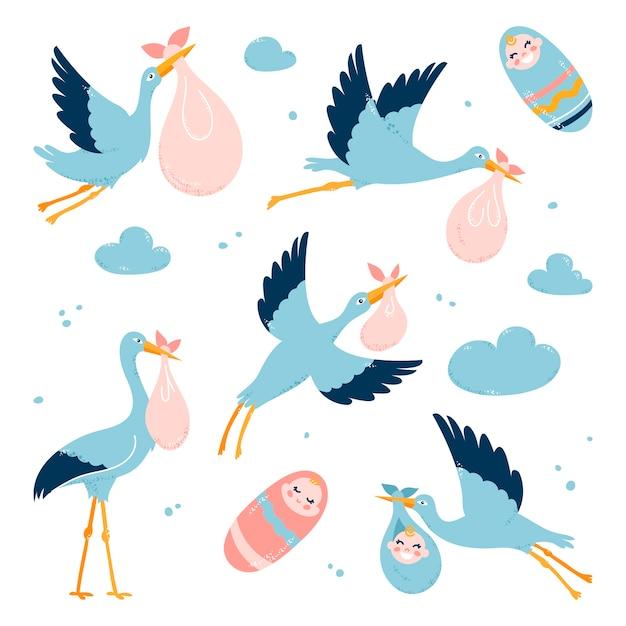 コウノトリは子供を両親に運びます。飛んでいる鳥。白い孤立した背景に。 Premiumベクター