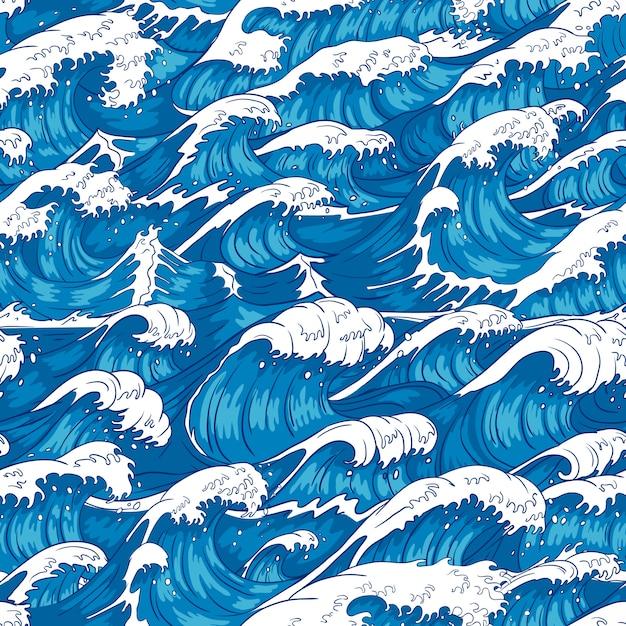 嵐の波のシームレスなパターン。荒れ狂う海の水、海の波、ヴィンテージ日本の嵐印刷イラスト背景 Premiumベクター