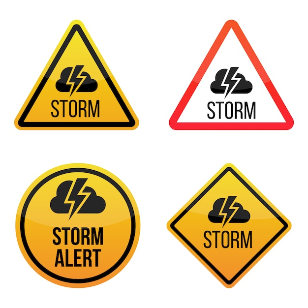 weather alert warning signs labels yellow and