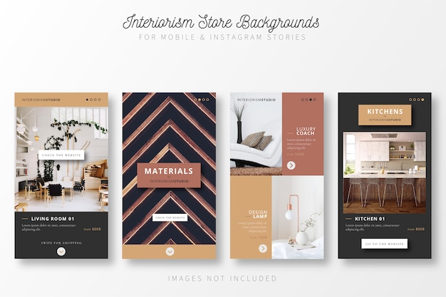 Story collection for interior design store Free Vector