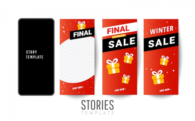 Story sale template with gift boxes, christmas trees for social networks stories Premium Vector
