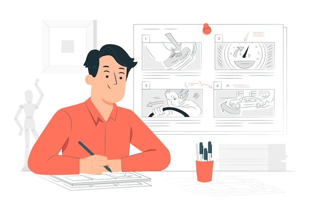 Storyboardconcept illustration Free Vector