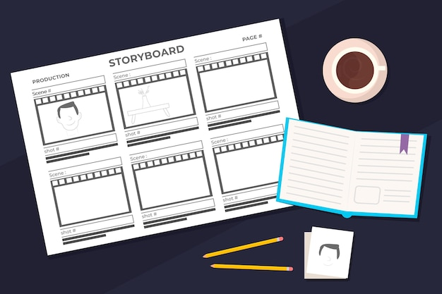Storyboard daily planner and coffee Free Vector