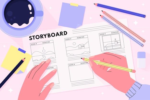 Storyboard illustration concept Free Vector