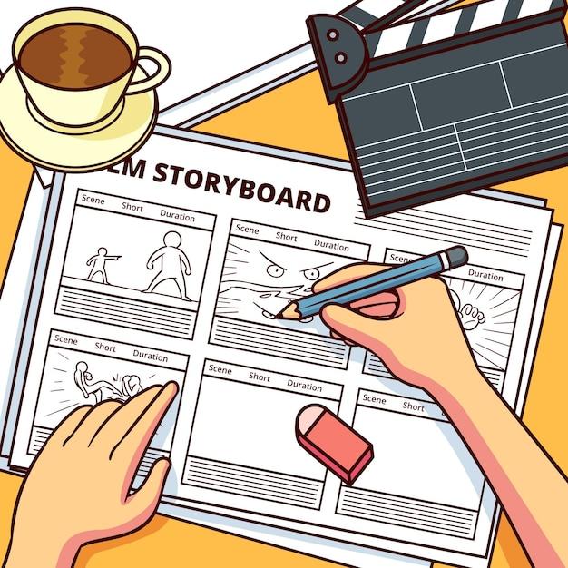 Раскадровка с реквизитом для фильмов и кофе Premium векторы